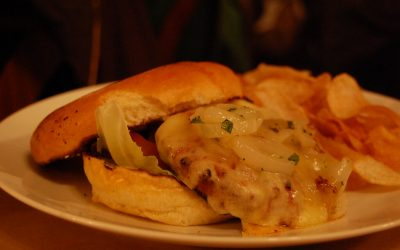 Sizzlin' Andouille Burgers with Asiago Cheese