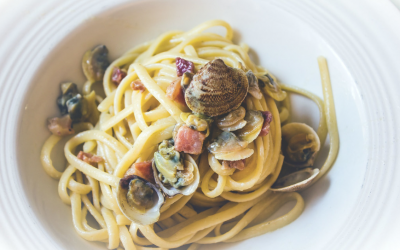 Linguini with Pancetta and White Clam Sauce